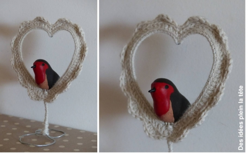 coeur,crochet,rouge-gorge,fimo