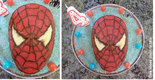 Gateau, spiderman, anniversaire, sucre colore